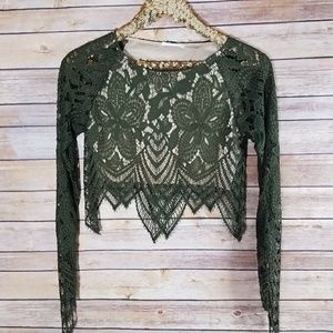 Olive Green Lace Long Sleeve Crop Top